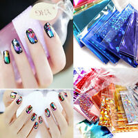 20PCS Nail Art Laser Foils Stickers Finger DIY Water Transfer Tips Decor Decal