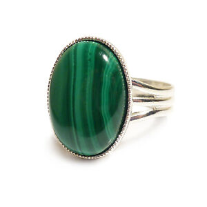 Malachite Gemstone Ring Semi Precious Green Oval Adjustable 18 x 13 mm Silver