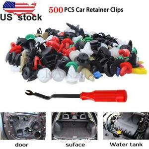 500PCS Plastic Rivets Fastener Fender Bumper Push Pin Clips With Remover Tool