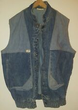 Vintage Guess Jean Jacket Vest Denim Blue w/ Metal Buttons Punk Retro Rocker