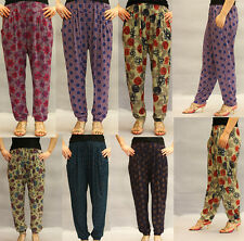Women's Pants High Stretch Waist Cuffed Leg Casual Slacks Harem Yoga Pants BNWT