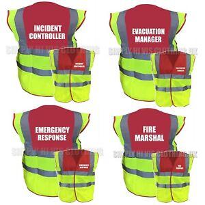 Printed Hi Vis Vest Emergency, Evacuation, Incident controller Fire Marshal 1