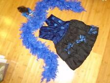 Ringmaster circus performer costume womens S blue dress boa Mardi Gras