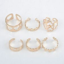 6PC Fashion Adjustable Heart Rings Women Hollow Party Stackable Midi Ring Set
