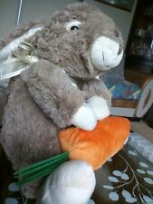 CUTE BABY BUNNY WITH CARROT. (28CM 11in) TALL SOFT new with labels