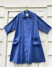 VINTAGE 2000 FLAX BY JEANNE ENGELHART BLUE SEXY SWITCH LINEN DUSTER LARGE