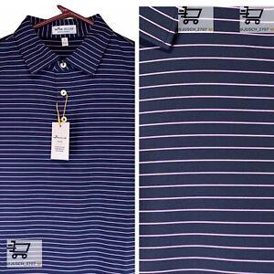 PETER MILLAR Crown Summer Comfort Golf Polo Shirt ⛳️ LARGE L ⛳️ Purple Striped
