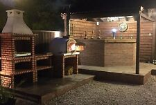 Brick masonry Mediterranean BBQ with wood fired pizza oven, 2,9m long 2.2m high