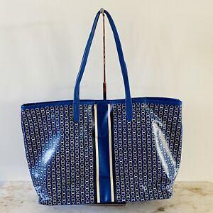 TORY BURCH Striped Blue Samba Gemini Link Tote Bag