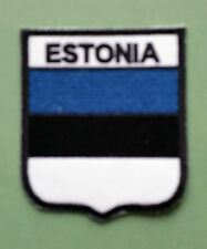 NATIONAL FLAG COUNTRY SHIELD SEW ON / IRON ON EMBROIDERED PATCH:- ESTONIA