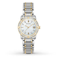 Bulova Women's Quartz Diamond Accents Gold Tone Calendar 26mm Watch 98R107