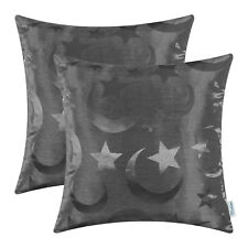 2Pcs Grey Cushion Covers Pillows Case Shells Modern Stars Moon Home Decor 18x18""