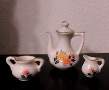 Miniature White And Gold Trim Floral Doll House Tea Pot Sugar And Creamer