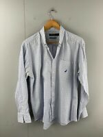 Nautica Men's Long Sleeve Button Up Shirt Size L Blue Check
