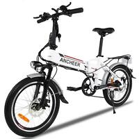 """Ancheer 20"""" Aluminum Alloy Foldable Electric Mountain Bicycle 250W White E-bike"""