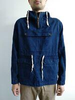 Vanishing elephant Mens Blue Denim Anorak jacket Pullover Hoodie M