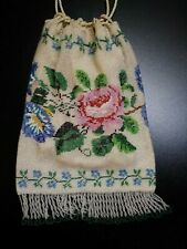 ANTIQUE VICTORIAN MICRO GLASS BEAD EUROPEAN EVENING BAG PURSE ROSE MORNING GLORY