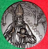 RELIGIOUS / SAINT TEOTONIO REALISTIC BRONZE MEDAL BY ANTUNES / 3.1´´