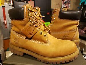 Men's Size 8.5 TIMBERLAND Wheat Nubuck Waterproof Boots TB 010061 713 FREE SHIP