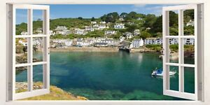 Cornwall Polperro Fishing Town 3D Effect Window Canvas Picture Wall Art Prints