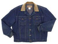 Vtg WRANGLER Denim Jean Jacket USA XL 44 Mens WESTERN Blanket Lined RANCHER Coat