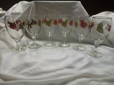 Libbey Water Stemware Glass Autumn Fall Leaves set of 6