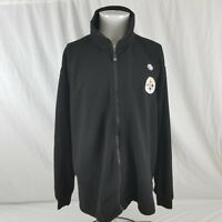 New NFL Men's XL Pittsburgh Steelers Black Fleece Embroidered Zip Jacket