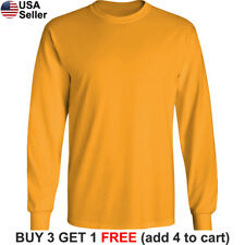 Basic Cotton T-Shirt Long Sleeve Plain Crew Neck Solid Men Youth Blank Color