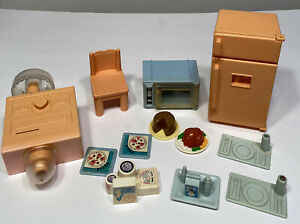 Vintage Playskool Dollhouse Loving Family Microwave Fridge Food Chair Dresser