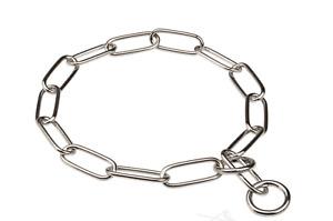 Dog Check Chain Choker Collar Fur Saving Long Link Chrome Plated Police UK