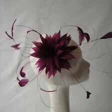 Aubergine Feather Fascinator For Races, Proms , Weddings