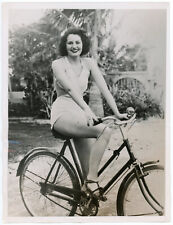 Original 1936 ACME Newspictures Press Photograph Cute Bathing Beauty on Bicycle