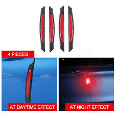 4pc real Carbon Fiber Red Reflective anti-collision Car Side Door Edge Sticker