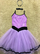 Girls' Purple Tutu Ballerina Costume Size Large Choker / Glitter Headband
