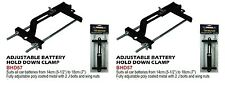 """2 X ADJUSTABLE BATTERY HOLD DOWN CLAMP 14cm (5-1/2"""") to 18cm (7"""")"""