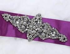 "6"" Black Base Vintage Style Rhombus Rhinestone Crystal Beaded Wedding Applique"
