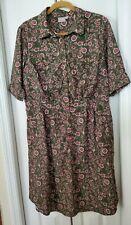 Eshakti Dress Size 16W 1X plus olive green pink floral button down short sleeves