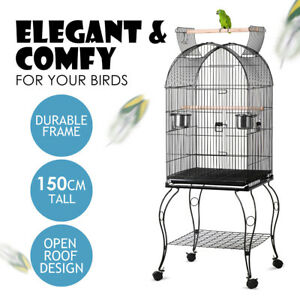 Open Roof Anti-Rust Wire Bird Cage Parrot Pet Perches with Wheels AU Seller