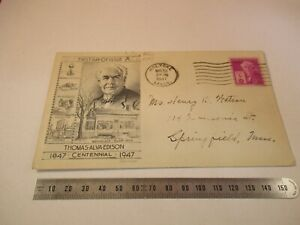 THOMAS ALVA EDISON 1947 ISSUE POSTAL STAMP ENVELOPE AS PICTURED &2-DT