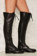 NEW LUST FOR  LIFE $449 BLACK LEATHER OBLIVION OVER THE KNEE BOOTS SHOES SZ 7