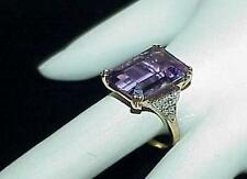 14K 5.00ct Amethyst Rectangle Pave Diamond Ring Yellow Gold Size 7 Estate Vintg