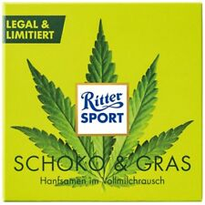 RITTER SPORT SCHOKO + GRAS - Vollmilch Schokolade mit gerösteten Hanfsamen 100g