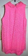 Vintage 1960's Pink Lace Mod Party Cocktail Shift Dress Size Medium