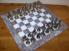 "Metal Ancient Roman Figure & 14""x14"" (36cmx36cm) Handmade Marble Board Chess Set"