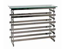 Haku Möbel Highboard Cage 13870 Metall Schwarz-Nickel Ablage Sicherheitsklarglas