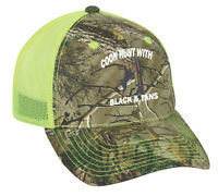 Cap Hat Camo Neon Yellow Mesh Raccoon Coon Hunt Hunter Hound Dog Black & Tan
