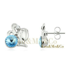 18k White Gold EP 0.8ct Brilliant Cut Aquamarine Crystal Stud Earrings