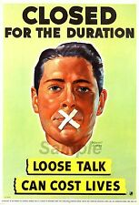 VINTAGE LOOSE TALK CAN COST LIVES WAR POSTER A3 PRINT