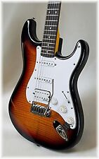 DILLION -AAAA Flame maple Strat + Fender tuner, tweed strap & strap locks FREE!