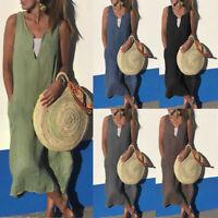Women Cotton Linen Casual V-Neck Sleeveless Solid Pocket Summer Beach Long Dress